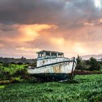Fishing boat in a field
